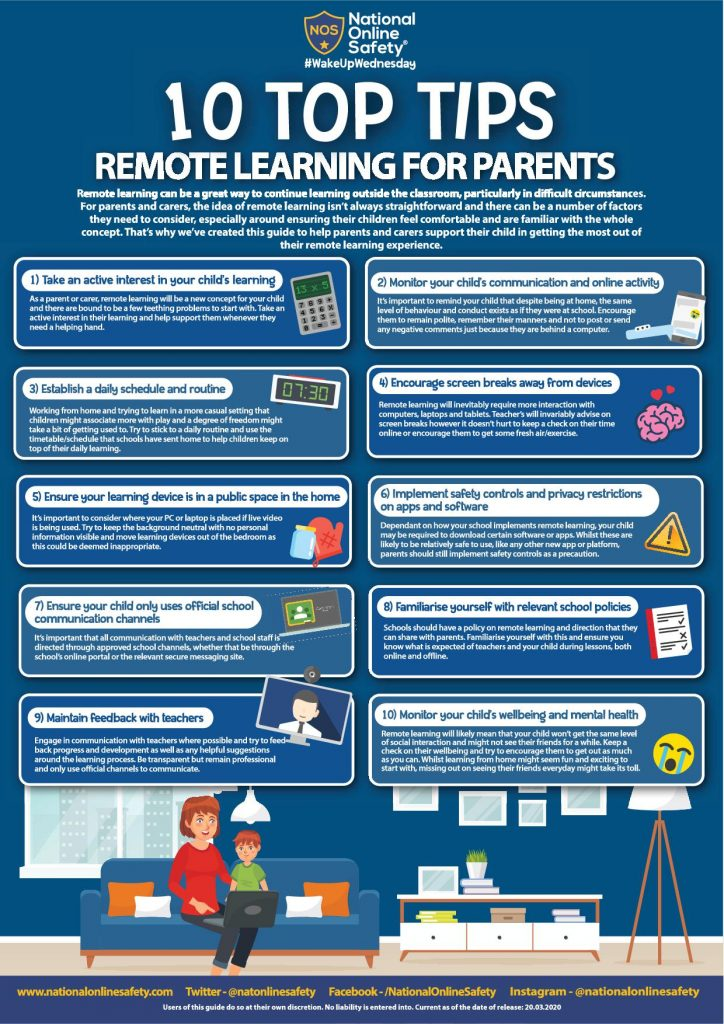 Parent Top Tips for Remote Learning 1